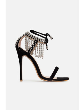 Anouska Diamanté Heels In Black Vegan Suede by Luxe To Kill
