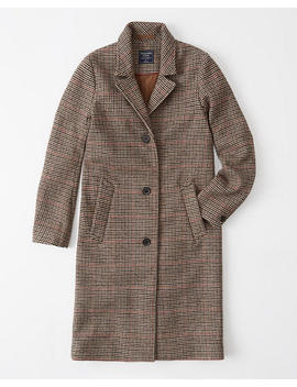 Wool Blend Dad Coat by Abercrombie & Fitch