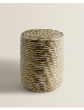 Cylindrical Basket With Lid  Baskets And Furniture   Bathroom by Zara Home