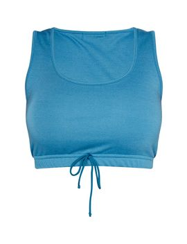 Shape Petrol Blue Sweat Sleeveless Crop Top by Prettylittlething