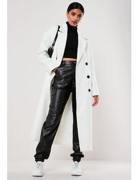 Petite White Oversized Double Breasted Midaxi Coat by Missguided
