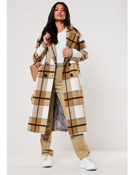 Tall Mustard Check Oversized Cocoon Coat by Missguided