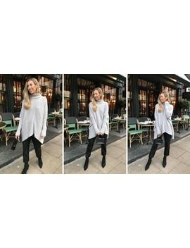 Exclusive Callie Knit Jumper Light Grey by Pretty Lavish