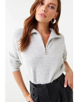 Zip Front Ribbed Pullover by Forever 21