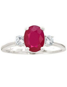 Premier 1.20cttw Oval Ruby & 1/5cttw Diamond Ring, 14 K by The Premier Gemstone Collection White Gold Or Yellow Gold.For More Details On This Ring's Fit, Please Refer To The Ring Size Guide Above.