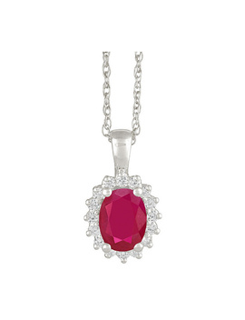 Premier 1.25cttw Oval Ruby & Diamond Pendant, 14 K by The Premier Gemstone Collection White Gold Or Yellow Gold.