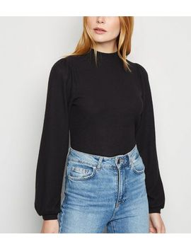 Black Brushed Knit Puff Sleeve Jumper by New Look