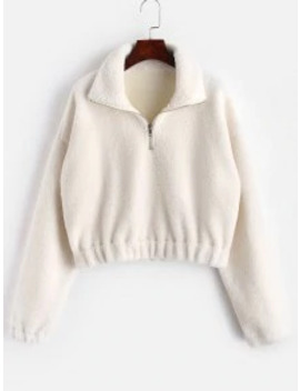 Hot Sale Half Zip Plain Faux Fur Sweatshirt   White M by Zaful