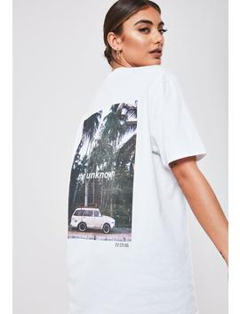 White The Unknown Graphic Oversized T Shirt by Missguided