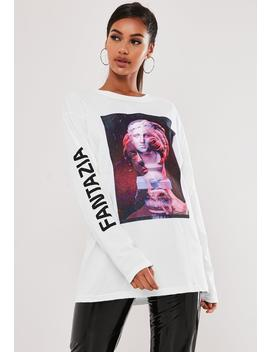 White Fantazia Graphic Long Sleeve T Shirt by Missguided