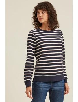 Fat Face Blue Sparkle Stripe Crew Sweater by Next