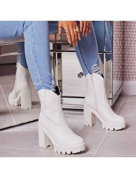 Chill Platform Chunky Sole Western Boot In White Faux Leather by Ego