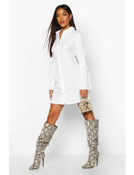 Shirred Sleeve Shirt Dress by Boohoo