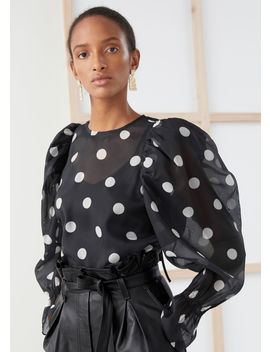 Sheer Puff Sleeve Polka Dot Blouse by & Other Stories