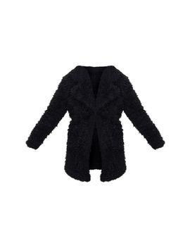 Petite Black Teddy Faux Fur Collar Midi Coat  by Prettylittlething