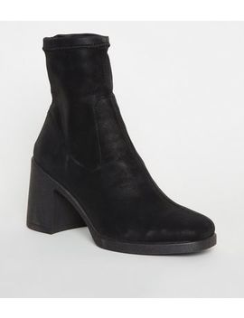 Black Leather Look Block Heel Sock Boots by New Look
