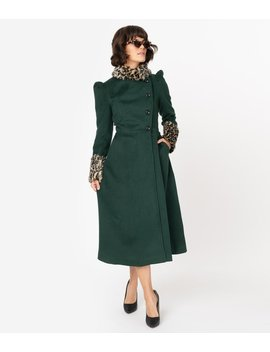 Voodoo Vixen 1940s Emerald Green & Leopard Fur Long Coat by Unique Vintage