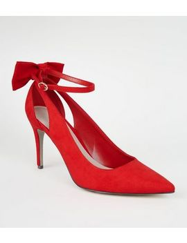Red Suedette Bow Back Court Shoes by New Look