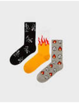 Σετ κάλτσες με φλόγες by Bershka