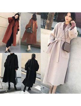Womens Winter Lapel Trench Coat Belt Cashmere Wool Blend Jacket Oversize Outwear by Ebay Seller