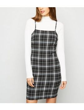 Black Check Strappy Bodycon Dress by New Look