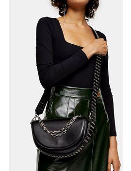 Daryl Black Chain Saddle Cross Body Bag by Topshop