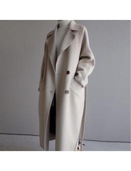 Womens Oversize Jacket Lapel Cashmere Wool Blend Belt Trench Coat Outwear Parka by Ebay Seller