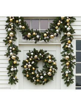 Ornament Pine Wreath & Garland – Gold & Silver by Pottery Barn