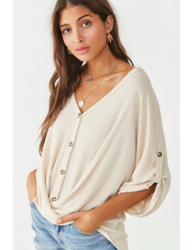 Twisted Waffle Knit Dolman Top by Forever 21