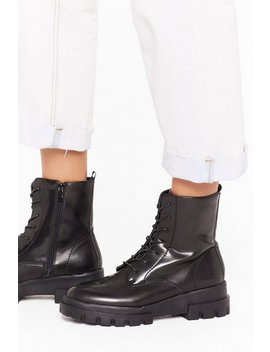 Don't Work So Hard Faux Leather Boots by Nasty Gal