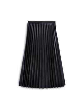 Black Pu Pleated Midi Skirt by Primark