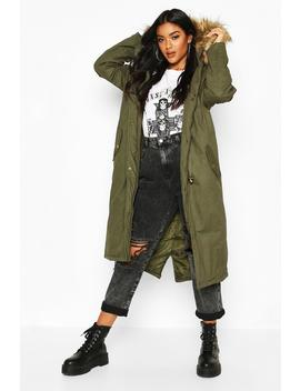Faux Fur Trim Hooded Maxi Parka by Boohoo