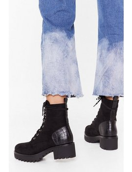 Faux Croc Counter Cleat Arch Hiker Boots by Nasty Gal