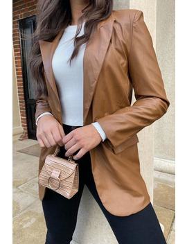 Tan Faux Leather Blazer by In The Style