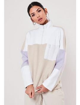 Beige Fleece Colour Block Sweatshirt by Missguided