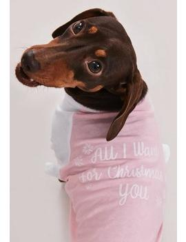 White Sleeve Christmas Dog T Shirt by Missguided