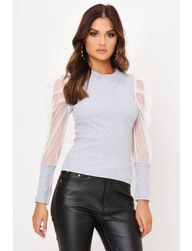 Grey Organza Puff Sleeve Ribbed Top by I Saw It First