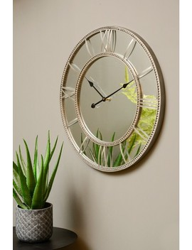 Libra Grey Framed Beaded Mirrored Round Wall Clock by Next