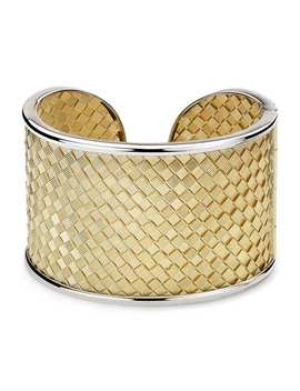 Two Tone Golden Weave Cuff In 18k Italian Yellow Gold by Blue Nile