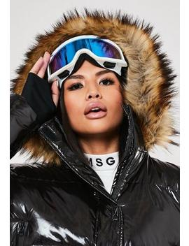Msgd Ski White Mirror Lens Goggles by Missguided