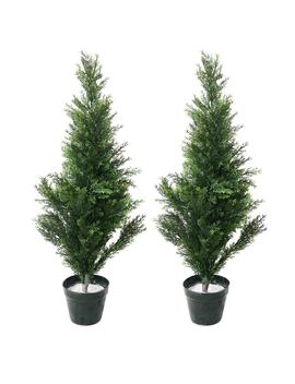 34 In. Faux Potted Artificial Cedar Trees (Set Of 2) by Pure Garden