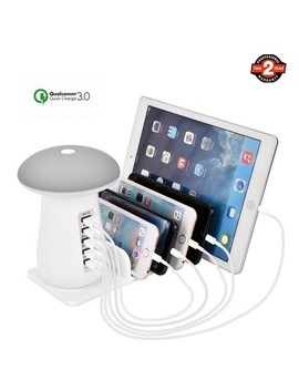 Usb Charging Station Dock,Quick 3.0 Charger Station Organizer With Mushroom Lamp For Smart Phone  by Best Buy