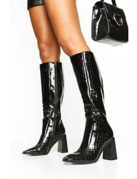Square Toe Croc Block Heel Knee High Boots by Boohoo