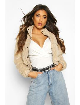 Cord Trim Teddy Faux Fur Jacket by Boohoo
