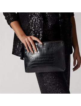 Love And Lore Croc Large Clutch Pouch Black by Love & Lore