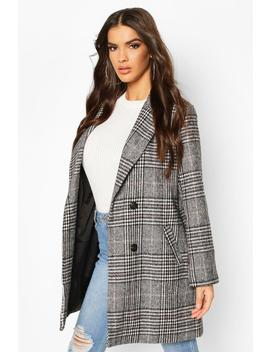 Check Oversized Boyfriend Wool Look Coat by Boohoo