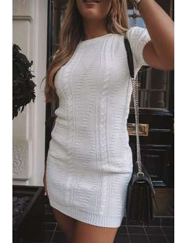 Dani Dyer White Cable Knit T Shirt Dress by In The Style