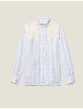 High Collar Checked Shirt by Sandro Eshop