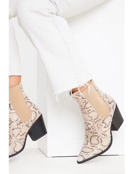 Grey Snake Print Ankle Cowboy Boots by In The Style