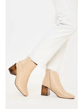 Nude Pu Seam Detail Ankle Boots by In The Style